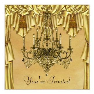 Elegant Gold Chandelier Gold Party Invitation