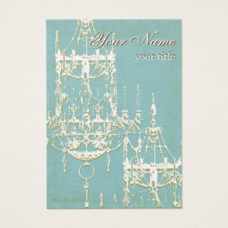 Elegant Gold Chandeliers with Turquoise Background Business Card