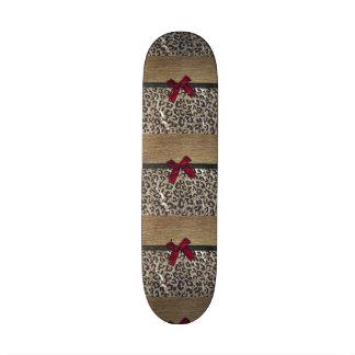 Elegant Gold Cheetah Print Skate Deck