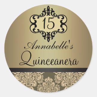Elegant Gold Chic Damask Quinceanera Sticker