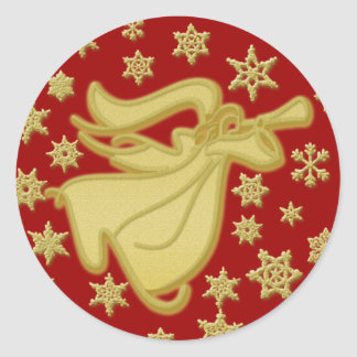 Elegant gold Christmas angel greetings wishes Classic Round Sticker