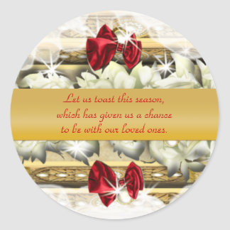 Elegant gold Christmas greetings wishes Classic Round Sticker
