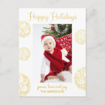 Elegant Gold Christmas Happy Holiday Postcard