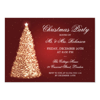 Elegant Gold Christmas Party Red 5x7 Paper Invitation Card
