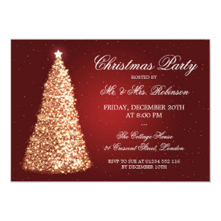 Elegant Gold Christmas Party Red Card at Zazzle