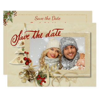 Elegant Gold Christmas Photo Save the Date Card