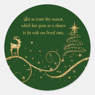 Elegant gold Christmas reindeer greetings wishes Sticker