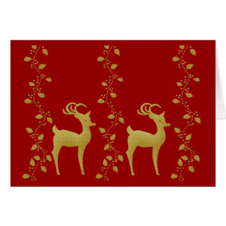Elegant gold Christmas reindeer holly wishes Card