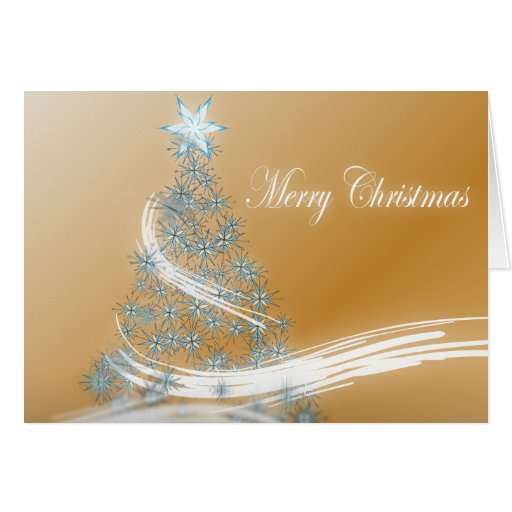 Elegant Gold  Christmas  Tree and Star Greeting Card
