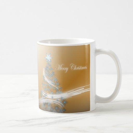 Elegant Gold  Christmas  Tree and Star Classic White Coffee Mug