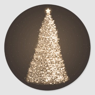 Christmas Themed Elegant Gold Christmas Tree Brown Classic Round Sticker