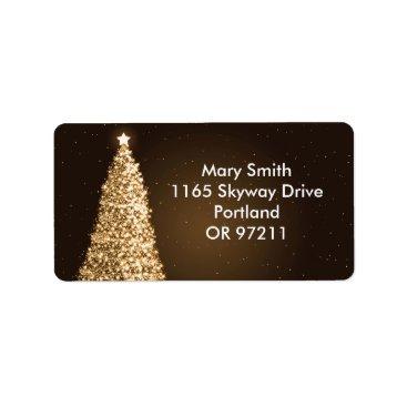Christmas Themed Elegant Gold Christmas Tree Brown Label