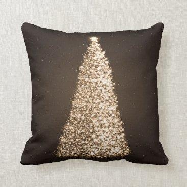 Christmas Themed Elegant Gold Christmas Tree Brown Throw Pillow