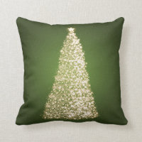 Elegant Gold Christmas Tree Green Throw Pillow