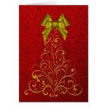 Elegant Gold Christmas Tree Greeting Card