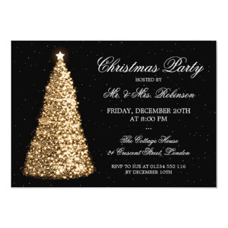 Elegant Gold Christmas Tree Holiday Party 5x7 Paper Invitation Card
