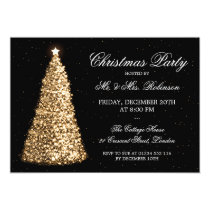Elegant Gold Christmas Tree Holiday Party Invitation