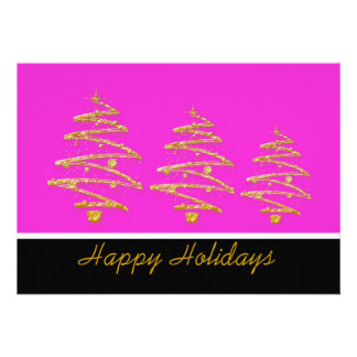 Elegant gold Christmas tree modern holiday party Personalized Announcement