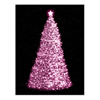Elegant Gold Christmas Trees Pink Postcard