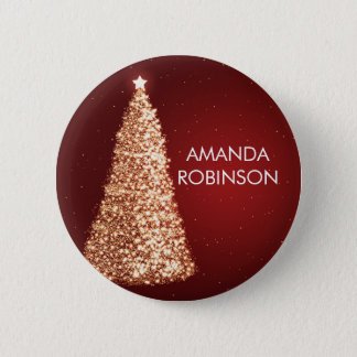Elegant Gold Christmas Trees Red Button