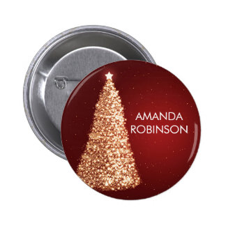 Elegant Gold Christmas Trees Red 2 Inch Round Button