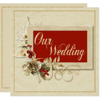 Elegant Gold Christmas Wedding Invitation