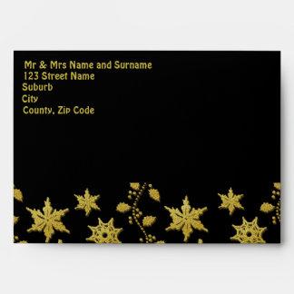 Elegant gold Chritsmas holiday party snowflakes Envelope