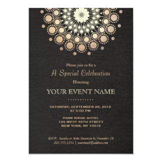 Elegant Gold Circle Motif Black Linen Look Formal Card