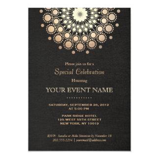 Elegant Gold Circle Motif Black Linen Look Formal 5x7 Paper Invitation Card