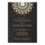 "Elegant Gold Circle Motif Black Linen Look Formal 5"" X 7"" Invitation Card"
