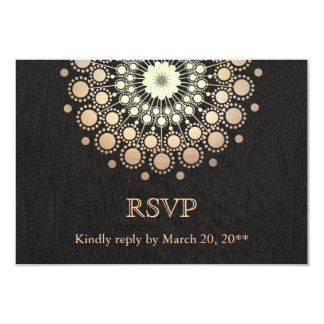 Elegant Gold Circle Motif Black Linen Look RSVP Card