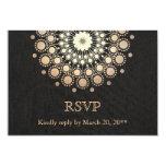 "Elegant Gold Circle Motif Black Linen Look RSVP 3.5"" X 5"" Invitation Card"