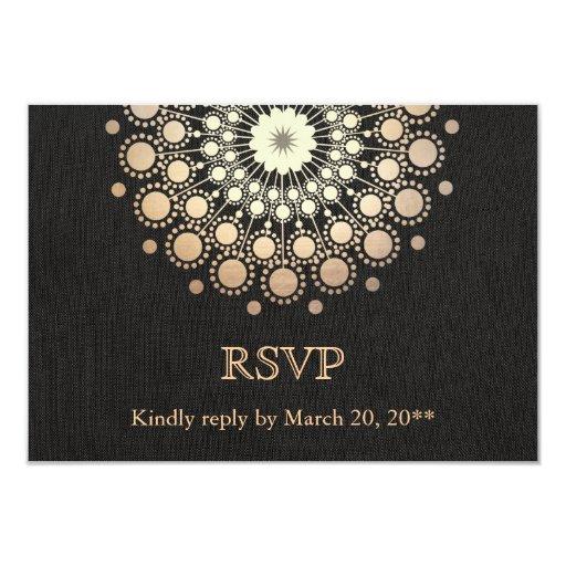 Elegant Gold Circle Motif Black Linen Look RSVP Custom Invitations (front side)