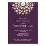 Elegant Gold Circle Motif Purple Linen Look Formal 5x7 Paper Invitation Card