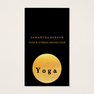 Elegant Gold Circle OM Logo Black Yoga Business Card