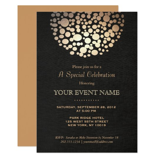 Elegant Gold Circle Sphere Black Formal Invitation  ZazzleCom