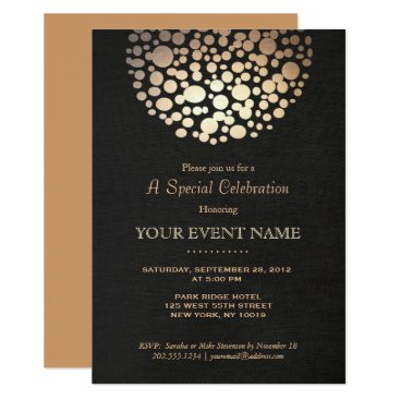 sm_business_cards Elegant Gold Circle Sphere Black Linen Look Formal Card