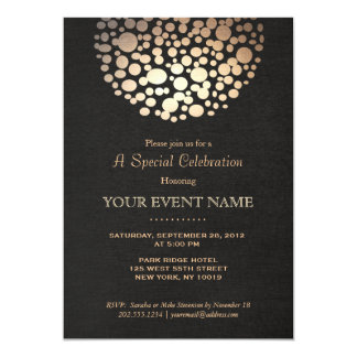 Elegant Gold Circle Sphere Black Linen Look Formal 5x7 Paper Invitation Card