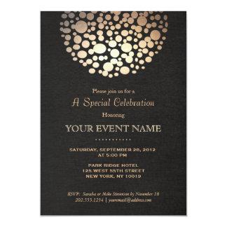 Elegant Gold Circle Sphere Black Linen Look Formal 5x7 Paper Invitation Card