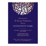 Elegant Gold Circle Sphere Navy Blue Formal 5x7 Paper Invitation Card
