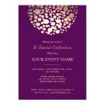 Elegant Gold Circle Sphere Purple Formal 5x7 Paper Invitation Card