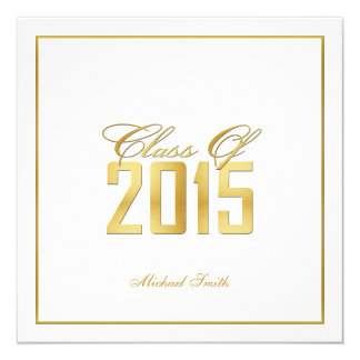 elegant quotgoldquot class of 2015 graduation invitation