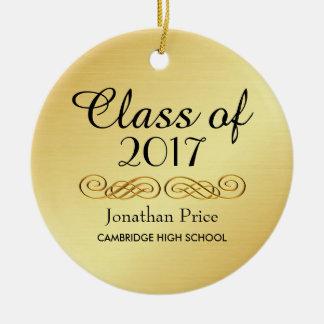 Elegant Gold Class of Graduation Christmas Ceramic Ornament