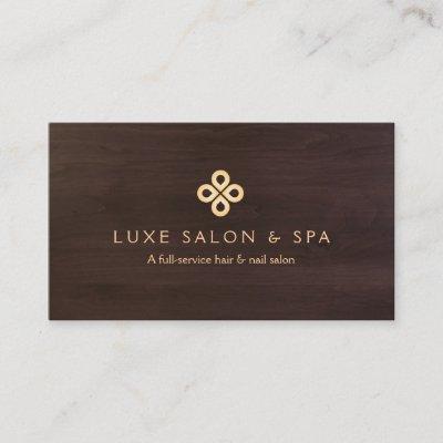 elegant gold clover logo on white for salon spa business card zazzlecom - Spa Business Cards