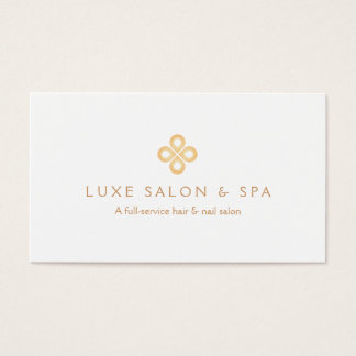 ELEGANT GOLD CLOVER LOGO on WHITE for Salon, Spa Business Card