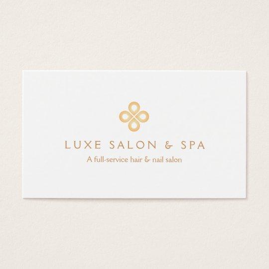 Elegant gold clover logo on white for salon spa business card elegant gold clover logo on white for salon spa business card colourmoves