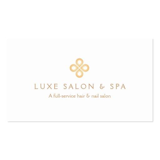 ELEGANT GOLD CLOVER LOGO on WHITE for Salon, Spa Business Card Templates