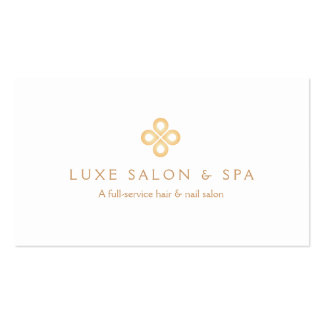 ELEGANT GOLD CLOVER LOGO on WHITE for Salon, Spa Double-Sided Standard Business Cards (Pack Of 100)