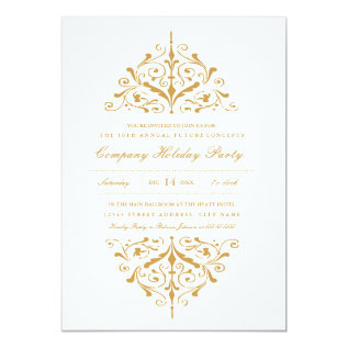 Elegant Gold Company Holiday Party Invitation at Zazzle