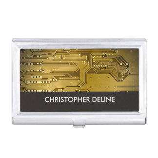 Elegant Gold Computer Circuit Board HighTech Business Card Holder